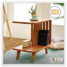 Meja Tamu Sudut Nakas Natural Brown - LIVIEN FURNITURE