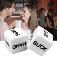 [Kingstore]Pair 16mm White Square Corner Funny Party English Letter Drink Decider Dice