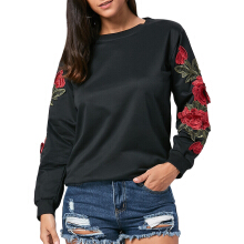 Floral Applique Long Sleeve Tunic Sweatshirt