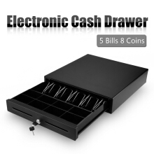 Black Heavy Duty Cash Drawer With 5 Bills &amp  8 Coins(2 Row) Tray &amp  2 Cheque Slots