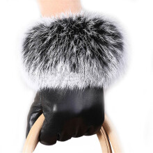 BESSKY Women Lady Black Leather Gloves Autumn Winter Warm Rabbit Fur Mittens- Black