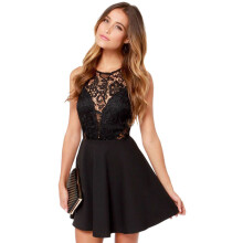 BESSKY Women Summer Casual Backless Prom Cocktail Lace Short Mini Dress_