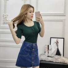Women's summer new pure color round collar short sleeve button knitting  base shirt