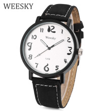 WEESKY 1206 Male Quartz Watch Luminous Cute Arabic Numerals Scale Water Resistance Wristwatch