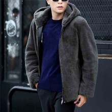 BESSKY  Men Winter Faux Fur Coat Hooded Zipper Jacket Male Fur Coat_