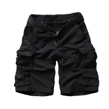 European and American fashion new men's large size multi-pocket camouflage overalls men loose Shorts Black 3XL