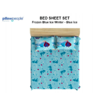 PILLOW PEOPLE Bed Sheet Set - Frozen Blue Ice Winter & Blue Ice / 120x200cm