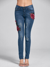 Embroidery Skinny Ripped Jeans