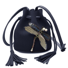 Dragonfly Embellished Drawstring Bucket Bag
