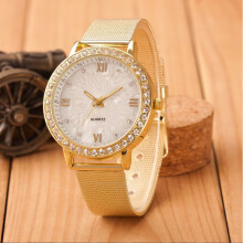 BESSKY Classy Women Ladies Crystal Roman Numerals Gold Mesh Band Wrist Watch- Gold