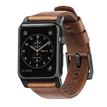 NOMAD Horween Leather Strap for Apple Watch 42MM Modern Build - Black