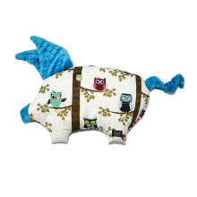 LA MILLOU Sleepy Pig Pillow - Anna Mucha Owl Radio Teal SP029T