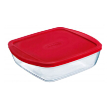 ARCUISINE Square Dish Shallow Version With Plastic Lid / Mangkuk Microwave 25X22X5Cm