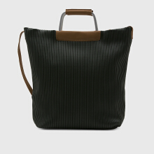 NEW COLLECTION Pleated tote with hardware handles & leather detail - Green
