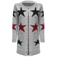 Trendy Round Neck Long Sleeve Various Pattern Loose Knitted Cardigan for Ladies