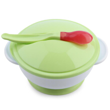 Thermostability Babies Suction Bowl with Lid Scoop Anti-slip Design