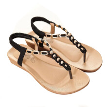 2016 summer women's sandals with beads and t-shape design women's casual beach sandles