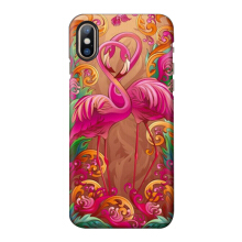 Ins V-217 Art painting series-Flamingo 3D embossed Iphone X PC Hard shell case-Red