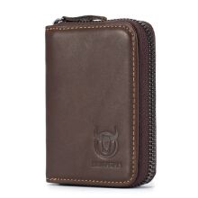 Bullcaptain Genuine Leather Zipper Short Wallet Multi Cards Men Bag Card Holder