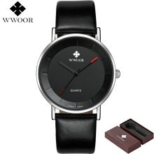 WWOOR Fashion Watch Leather Men's Ultra Thin Quartz Male Wristwatch relogio masculino 8827