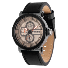 Police Disruptor Light Gun Dial Ion Plating Case Black Leather Strap [PL.14748JSUB/61] Black
