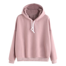 BESSKY Women Ladies Solid Long Sleeve Casual Hooded Sweatshirt Pullover Top Blouse_