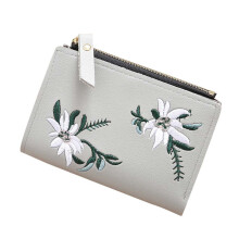 BESSKY Women Embroidery Zipper Short Wallet Coin Purse Card Holders Handbag_