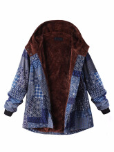 Zanzea 0051L-5XL Thicken Warm Coats Women Block Print Hooded Fleece Coat  Rose 14