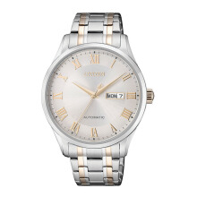 CITIZEN Automatic Watch - Silver Gold Strap/Silver Gold Dial 41mm Gents [NH8366-83A]