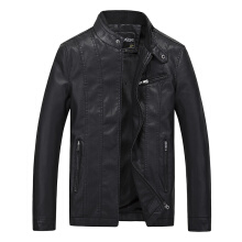 Winter Men'S Casual Fashion Leather Color Plus Velvet Collar Coat