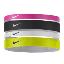NIKE Printed Headbands Assorted 4Pk  - Vivid Pink/Black/White [One Size] N.JN.C7.991.OS