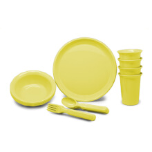 TECHNOPLAST Picnic Set ( Bowl, Plate, Glass, Spoon & Fork @4 Pairs ) Hijau