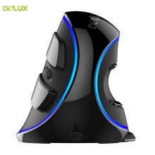 Delux M618 PLUS SingleColor Vertical Mouse blue Light Ergonomic Wired Mouse