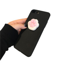 BESSKY Squishy 3D Animal Cat Panda Seal Soft TPU Gel Case Cover For iPhone 7 Plus 5.5 inch_ Black
