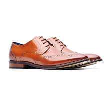 09712-Men formal leather shoes-Brown