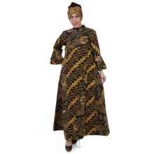 SHE BATIK Dress Batik Tulis Pias Lawasan - Black Yellow
