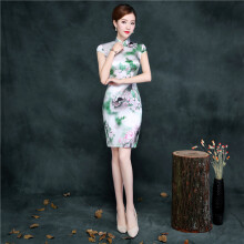 CHRSOL silk cheongsam dress-Green