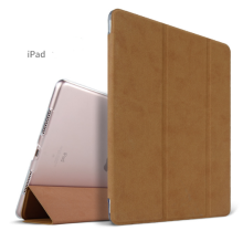 Ins AP-111A Super Thin PU Artificial deer skin pattern Surface scrub treatment Apple Ipad Pro12.9 protective cover-Brown