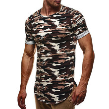 BESSKY Fashion Personality Camouflage Men's Casual Slim Short-sleeved Shirt Top Blouse _