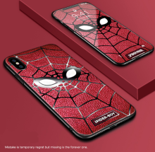 Ins V-117 Personalized creative silicone anti-fall Super Hero Spiderman Iphone X cover case-Red