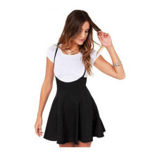 BESSKY Women Fashion Black Skirt With Shoulder Straps Pleated Dress  _