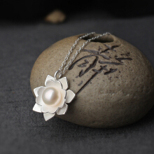 Luo Ling Long Silver Lotus Pearl Necklace