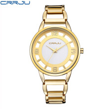CRRJU Luxury Brand Fashion Gold Woman Bracelet Watch Women Full Steel Quartz-watch Clock Ladies Dress Watches relogio feminino