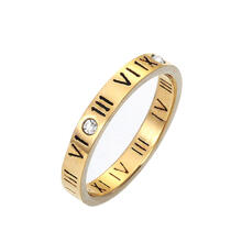 Farfi Punk Roman Numerals Rhinestone Stainless Steel Finger Jewelry Couple Ring Gift