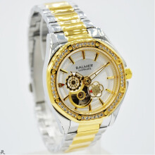 Balmer B.7981LPK-D37H1248SLGL Small Second Shappire Crystal Stainless Steel Jam Tangan Wanita Silver Gold Gold