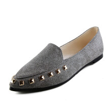 BESSKY Women's Flats Rivet Ladies Comfy Shoes Soft Slip-On Casual Boat Shoes _