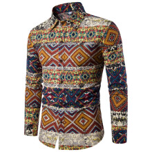 BESSKY Mens Casual Long Sleeve Shirt Business Slim Fit Shirt Print Blouse Top_