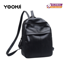 YOOHUI PB16 High quality PU leather ladies backpack fashion bag large capacity casual backpack Black