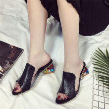 BESSKY Fashion Rhinestone Thick Heels Slipper Women Sandals Party Flip Flop Shoes _
