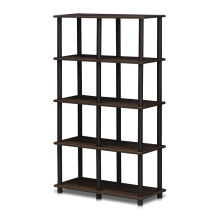 FUNIKA x FURINNO 16105WN/BR - 8 Space Shelf Walnut Coklat